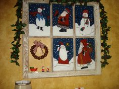 old window painted for Christmas