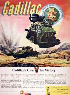 1943 Cadillac War Effort original vintage ad. Recounts the contribution Cadillac is making to the war effort with the M5 Cadillac-built tank and precision assemblies on liquid-cooled aircraft engines. Cadillac's own V for Victory.