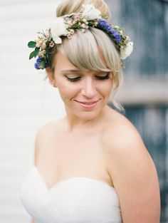 floral crown, photo by Kristin La Voie Photography http://ruffledblog.com/backyard-indiana-wedding #weddinghair #flowercrown