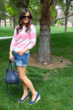 striped sweater, jean shorts and espadrilles