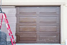 Faux Wood Garage Door Update with Stain