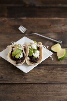YUM. Spiced Black Bean, Grilled Avocado, and Goat Cheese Tacos