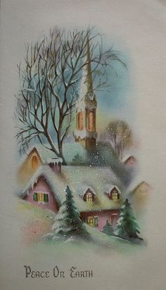 Lovely vintage peace on earth wishes. #vintage #Christmas #cards