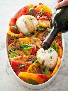 burrata cheese, cook, tomato capres, food, heirloom tomato recipes