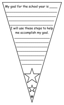Goal Setting Pennant image  for the first week of school...hang in classroom or school