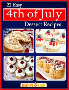 Get ready for a sweet 4th of July with this free recipe eCookbook!  Get a printable copy of our collection of 22 Easy 4th of July Dessert Recipes right here!  Cakes, pies, frozen treats and so much more... Yum!