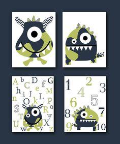 Monster Nursery Alphabet Nursery Numbers Baby art print kids wall art baby room decor
