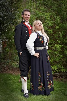 Bunad    My sister and I in traditional Norwegian folk costumes from Voss (M) and Bergen (W), Norway