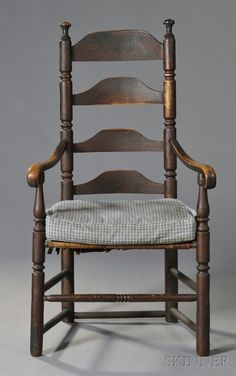 PAINTED MAPLE SLAT-BACK ARMCHAIR, NEW ENGLAND, EARLY 18TH CENTURY, EARLY RED-BROWN PAINTED SURFACE