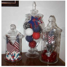apothecary jar decorations--change out for various holidays