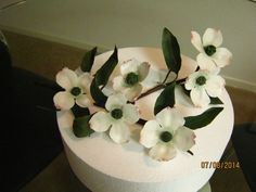 A branch of gumpaste Dogwood blossoms for an upcoming cake