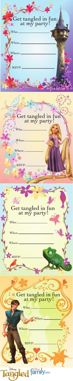 free printable, tangled party invite