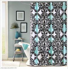 White Wood Curtain Rod Dark Green Shower Curtain