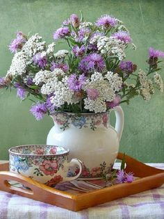 summer tea, coffe, bouquet, tea parti, tea time, teas, beauti, arrang, flower