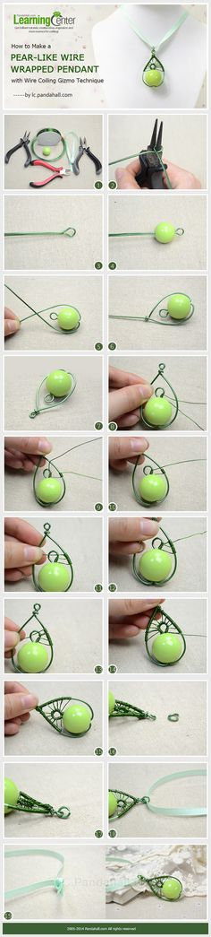 How to Make a Pear-Like Wire Wrapped Pendant with Wire Coiling Gizmo Technique