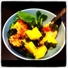 Garlic chile tilapia, baked kale with paprika, and pineapple. #paleo spice party