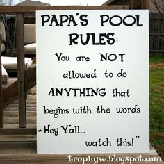 papa pool, laugh, stuff, funni, pool rule, humor, quot, pools, thing