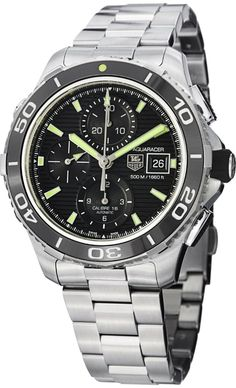 Tag Heuer men watches : Tag Heuer Aquaracer Black Dial Chronograph Stainless Steel Mens Watch CAK2111BA0833