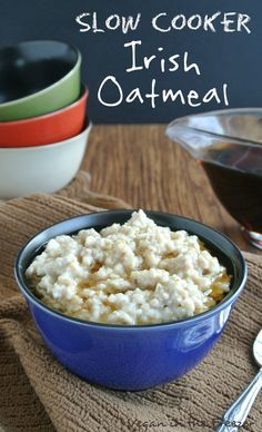 Wake up to Slow Cooker Irish Oatmeal. Throw it all in the crockpot in less than 5 minutes and when you get up the morning drizzle on a little maple syrup.