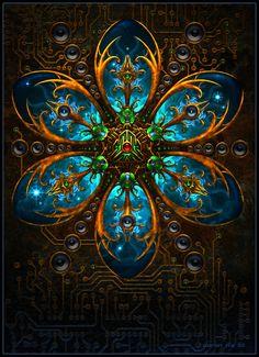 atlantean bass, aaron rix, window, bass hub, art, stain glass, fractal, amazing stained glass, mandala
