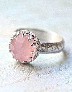 Pink Chalcedony Solitaire Ring Vintage Design