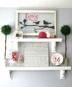 bird, frame, valentine day, decorating blogs, decorating ideas, old windows, vinyl, shelv, house decorations