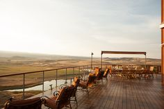 Situated just above a lake, the giant open-air dining room makes you feel like you're on top of the world. Photograph by Robert Wright