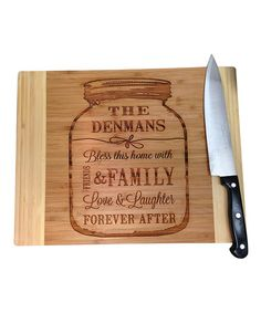 Take a look at this Jam Jar 'Bless This Home With' Personalized Cutting Board by LetsEngraveIt on #zulily today!