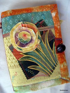 Travel journal handmade fabric flower smash book by BookWraps.