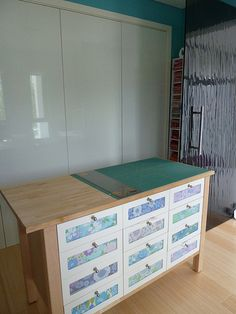 Love this cutting table!  The drawers are so pretty :-)