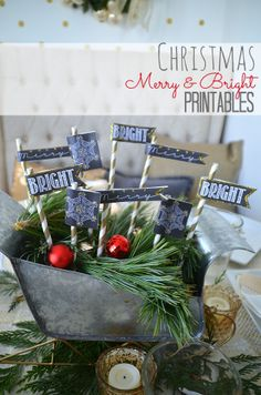 Christmas at the #1905Cottage, A Home Tour, and free Holiday Chalkboard Flag Printables!! -- Tatertots and Jello #DIY #freeprintables