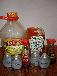 Put condiments into empty MIO bottles for smaller camping portions. [Or extra toiletry bottles. Whichever is more plentiful and cheaper.]