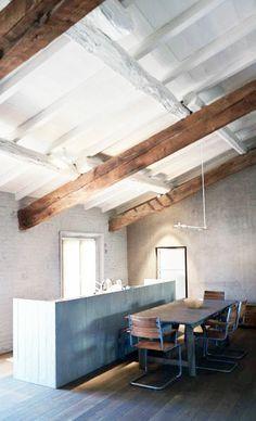 = grey timber kitchen and wood beams