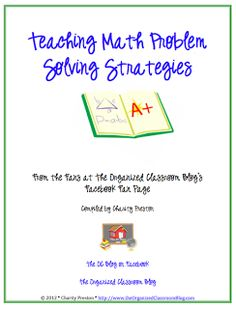 Fabulous FREEBIE- New ideas for teaching problem solving skills in math. Lots of ideas all compiled in one handy eBook.