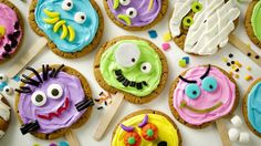 Treat friends and family with these creative monster cookie pops made using Pillsbury® refrigerated peanut butter cookies--a perfect dessert for Halloween.
