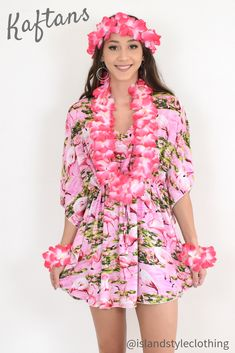 Pretty Ladies Kaftan Poncho with Lei Set - gorgeous Cruisewear, luau party or fancy dress. Throw this delightful caftan over your bikinis or jeans for a day at the beach, cruising or casual wear. Lots of colours and patterns to choose from. #poncho #kaftan #bikini #beachcoverup #caftan #flamingoparty #leiset #flamingoparty #luauparty #luaudress #fancydress #fancydresscostume