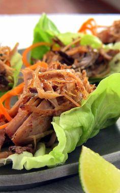 Pulled pork (carnitas) lettuce cups  -pressure cooker recipe