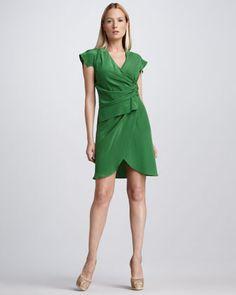 Gathered Crepe De Chine Dress, Emerald by Derek Lam at Bergdorf Goodman.