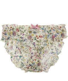 Liberty Print White Wild Flowers Print Cotton Knickers