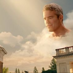 Andy Cohen playing Zeus in Lady Gaga's G.U.Y. video.