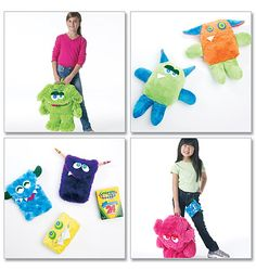 mccall pattern, backpacks, sew, 6337, toy, pattern backpack, monster bag, bag mccall, monsters