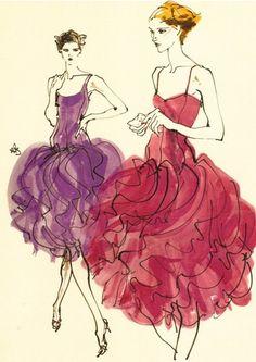 Fashion illustration by Kenneth Paul Block, 1980, Halston ad. draw, halston ad, sketch, art, block 1980, inspir, kenneth paul block, fashion illustrations, ilustração ilustr