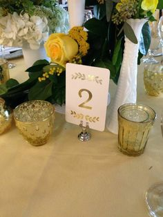 Dogwood Blossom Stationery, Gold Table Number