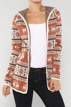 Open deer pattern winter acrylic cardigan with hood detail on back and long sleeves.80% Acrylic, 20% NylonMade in USA