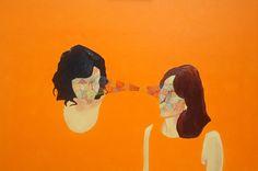 "Saatchi Online Artist: Danny Olda; Oil, 2010, Painting ""Family Circle"" #orange #art"