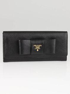 Prada Black Saffiano Leather Bow Long Wallet 1M1132