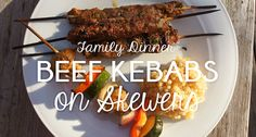 Family dinner for all phases: Beef Kebabs on Skewers made with ground beef and great spices. Just leave the zucchini off of the veggie skewers for Phase 2.