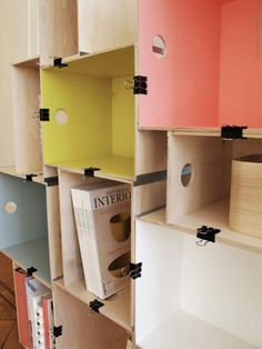 Use binder clips to hold crates together for cute storage.