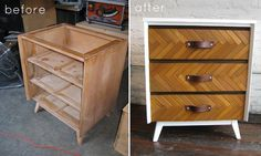 herringbone dresser makeover and other awesome furniture re-dos.
