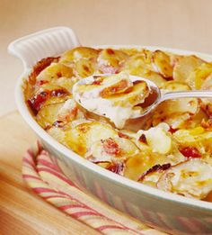This layered cheesy potato side dish is always a favorite at family dinners.